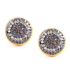 Vikerkaareaurast ja kristallidest kõrvarõngad 12 mm, kullatud