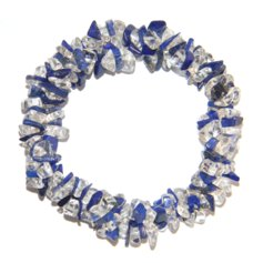 Lapis Lazuli and Rock Crystal Chip Bracelet 3 in 1