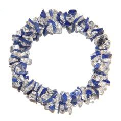 Lapis lazuli ja mäekristalliga kolmekordne spiraalne käepael
