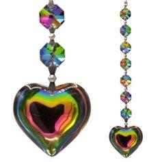 Suure vikerkaarevärvilise südamega kristallist päikesepüüdja