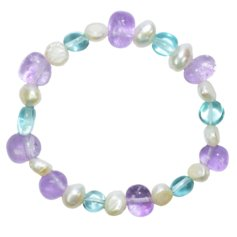 Amethyst and Blue Obsidian Chip and Pearl Bracelet