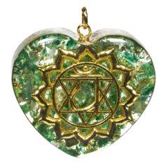 Kuldse neljanda tšakra sümboliga südamekujuline orgon-ripats