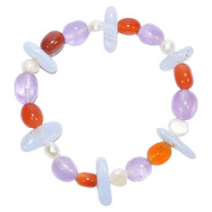Amethyst, Blue Lace and Carnelian Chip and Pearl Bracelet