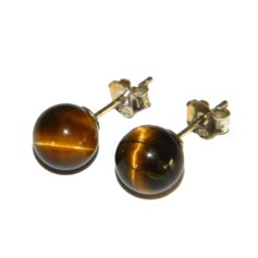 Tiger Eye Earpin, 8 mm round, 925 Silver