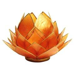 Lootoseõiekujuline küünlaalus, oranž, suurem