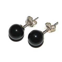Mustast oonüksist kerakujulised kõrvarõngad, hõbe, 8 mm