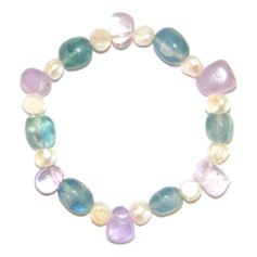 Amethyst and Fluorite Chip and Pearl Bracelet