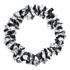 Black Tourmaline and Rock Crystal Chip Bracelet 3 in 1