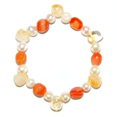 Citrine and Carnelian Chip and Pearl Bracelet