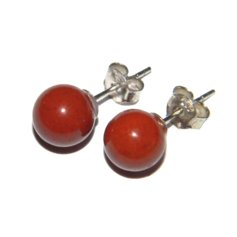 Red Jasper Earpin, 8 mm round, 925 Silver