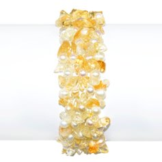 Citrine and Pearl Knitted Bracelet