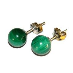Malachite Earpin, 8 mm round, 925 Silver