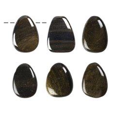 Obsidiaan, kullaläikeline, auguga (1 tk)