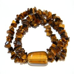 Tiger Eye Chip Bracelet with a Large Tumblestone