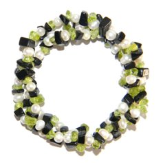Black Agate / Peridot Chip Bracelet 3 in 1 with Pearls