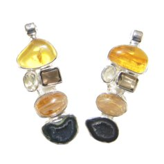 Pendant with Amber, Rutilated Quartz, Smoky Quartz, Citrine and Agate Geode, 925 Silver