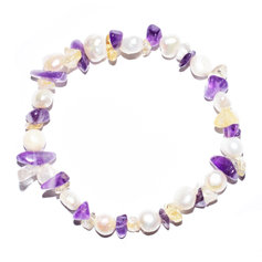 Citrine and Amethyst Chip and Pearl Bracelet