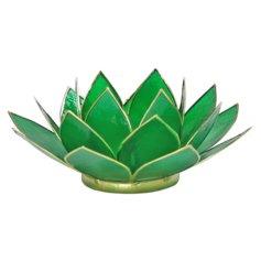 Lootoseõiekujuline tšakraküünlaalus, roheline