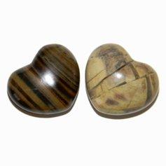 Silver Stripe Jasper Heart, (1 piece)