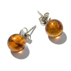 Amber Earpin, 8 mm round, 925 Silver