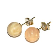 Moonstone Earpin, 8 mm round, 925 Silver